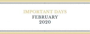 important days Feb 2020